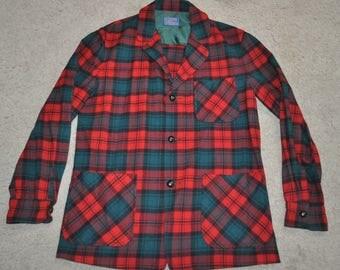 vintage PENDLETON Button-Down Pocket Sweater/Jacket mens M MEDIUM Plaid/Checks 100% Wool