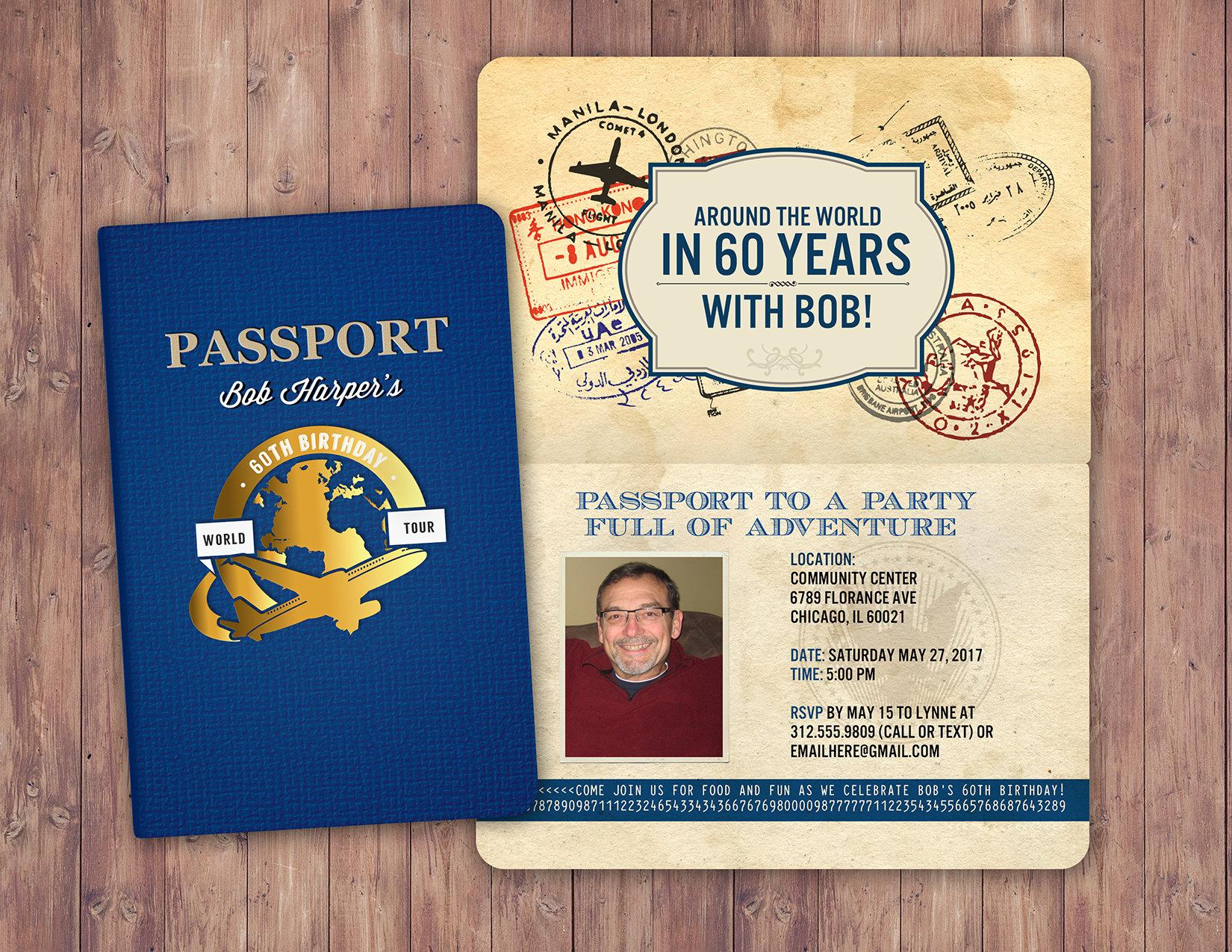 ANY AGE, Sweet 16, birthday invitation, travel invitation ...