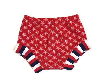 Red Stars Shorties, Bloomers, Patriotic, Fourth of July