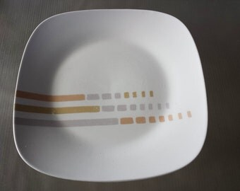 Mid Century Royal Norfolk Square Dinner Plate RNF69 Orange Yellow Gray Stripes