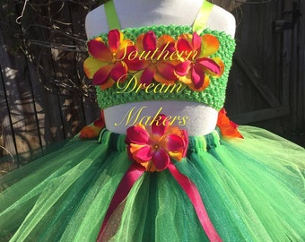 Luau Tutu, 2 piece Luau Tutu, Hawaiian Tutu set, Hula Tutu, Grass Skirt Tutu set