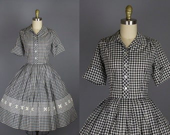 1950s gingham cotton dress/ 50s black and white check day dress/ small