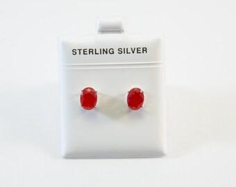 Oval-Shaped Red Jade Stud Earrings