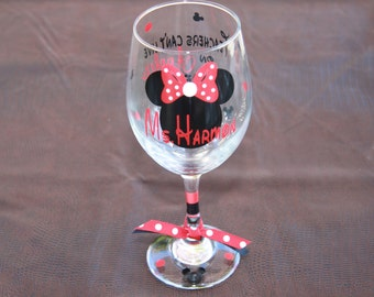 "Disney Personalized Teacher Wine Glass: ""Teachers Can't Live on Apples Alone"", Great Gift for your Teacher for Back to school"