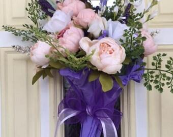 Front door, wall decor, umbrella decoration, purple peonies and silk flowers
