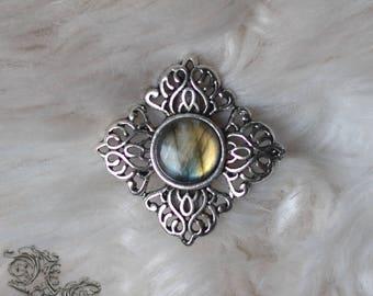 "Barrette "" Eurielle "" - Labradorite - Medieval , celtic , elven , fairy , nature , fantasy , pagan, gothic"