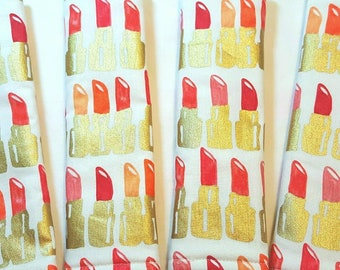 Seat Belt Cushion- Lipstick-Make Up-Seat Belt Pad-Seat Belt Cover-Cosmetics-Gold-Coral-White-Car Accessories-Handmade