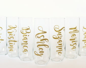 Set of 8 Personalized Champagne Flutes //Bridesmaids Gift // Monogrammed Stemless Champagne Flute // Champagne Glass
