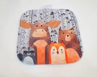 Forest Friends pot holder set of two, Moose, Bear, Fox, Raccoon , Aspen Tree background