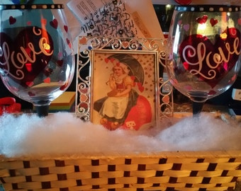 To the One I Love frame with two LOVE wine glasses