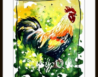 Rooster Art Chicken,Original ,Watercolor Painting, Art print from my original watercolor painting 098
