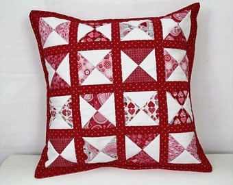Quilted Pillow, Red Pillow Cover, 20 x 20  Pillow, Red Heart Pillow, Patchwork Pillow, Red Throw Pillow, Living Room Decor