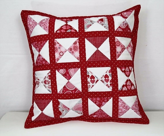 White Quilted Decorative Pillows : Valentine Pillow Red Heart Pillow Quilted Pillow Red Pillow