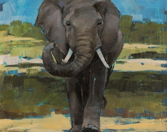 Prints of Curled Trunk Elephant