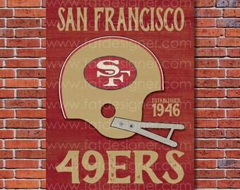 San Fransisco 49ers - Vintage Helmet - Art Print - Perfect for Mancave