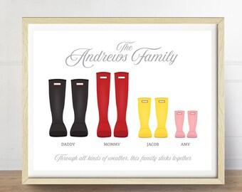 Wellies Print, Personalized Family Art, Rain Boots Art Print, Customizable Art, Family Keepsake