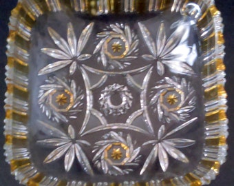 Vintage Pressed Glass Square Bowl Pinwheel & Fan Pattern Gold Accents