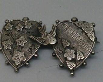 Vintage Sterling Silver Double Heart Brooch/Pin- Bird & Kind Regards