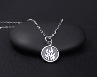 Fire Element Necklace Sterling Silver Fire Necklace, Aries, Leo, Sagittarius Element Necklace,  Flame Necklace, 4 Elements