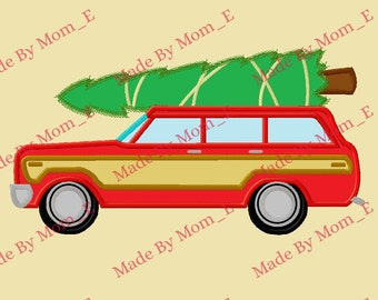 Red Christmas Vacation Car and Tree