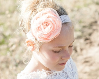 Baby Girl Headband- Baby Headbands- Flower Headband- Flower girl Headband- Newborn Headband-Peach Champagne Headband- Photo Prop