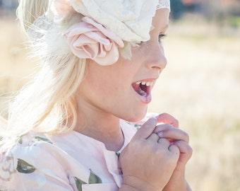 Baby Girl Headband- Baby Headbands- Pink Headband- Vintage Headband- Flower Headband- Flower girl Headband- Newborn Headband- Photo Prop