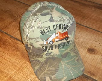Snow Plow Trucker Cap Snapback Hat, West Central Snow Fighters, Snowplow, Camo, Camouflage,  Hipster, City Utility, snap back baseball