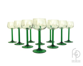 Green Stem French Wine Glasses Set of 10