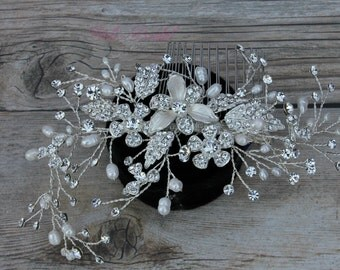 Silver Bridal Hair Comb, Wedding Hair Comb, Crystal Hair Comb, Swarovski Hair Comb, Hair Comb, Headpiece, Crystal Headpiece  Ask a question