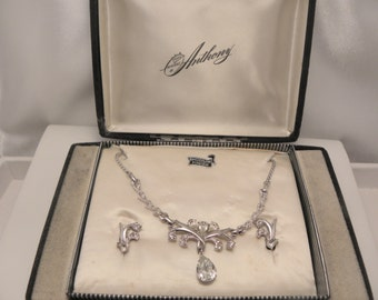 Vintage Signed Anthony Rhodium, Clear Rhinestone Drop Necklace & Earring Demi Set in Original Box