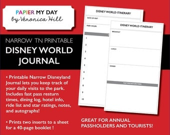Disney World Journal - Printable Narrow TN Disney Journal for Travelers Notebooks (40 pages!)