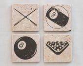 Custom Drink Coasters, 4 Coasters, Pool Billiards Tile Coasters Set of 4 Natural Stone Coasters, Bachelor Party, Man Cave, Game Room Decor