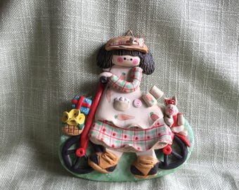 Vintage doll wall plaque
