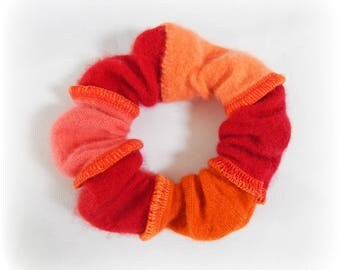 Red Scrunchie, Orange Scrunchy, Soft Hair Elastic, Striped Hairband, Cashmere Scrunchy, Ponytail Holder, Upcycled, Recycled, Eco Accessories
