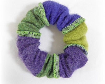 Purple Scrunchie, Green Scrunchy, Soft Hair Elastic, Cashmere Hairband, Striped Elastic, Ponytail Holder, Upcycled, Recycled, Eco Accessory