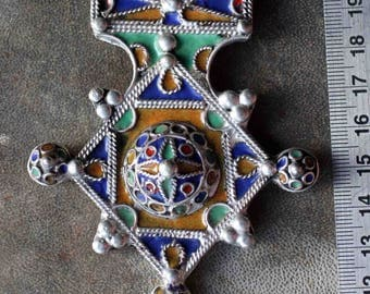 "Sale! Moroccan Berber Hot Enamel ethnic Tribal Cross Pendant ""Boghdad"""