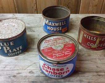 4 Vintage Blue Plate, Maxwell House, Hills Brothers, Chase & Sanborn Coffee Cans