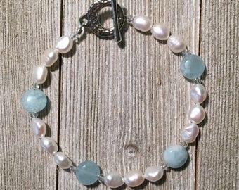 Freshwater Pearl, Aquamarine, and Swarovski Crystal Bracelet