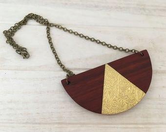 Padauk and Brass Necklace