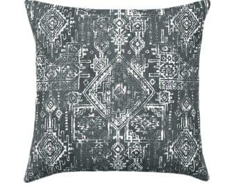 Dark Grey Decorative Pillows, Grey Geometric Pillow, Grey Throw Pillow Covers, Grey and White Accent Pillow Case, Sioux Gunmetal Pillow