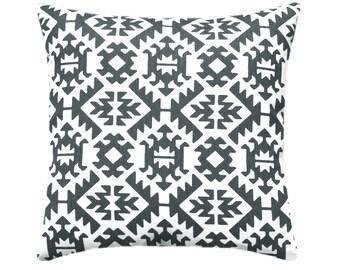 Dark Grey Pillow Case, Aztec Pillow, Grey Throw Pillow Covers, Grey and White Decorative Pillow, Pawnee Gunmetal Pillow. Tribal Pillow Cover