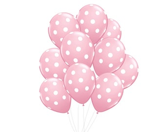 Pink Polka Dot Balloon Bundle - Premium balloon pack of 10 / baby shower, girl's birthday