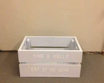 Wooden personalised wedding hamper crate