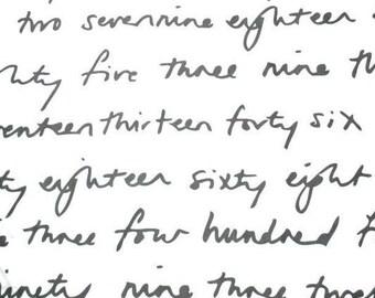 "Ikea Britten Nummers Text by Emma Jones Half Yard 59"" Wide OOP HTF"