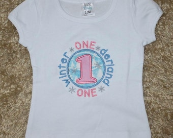 Winter ONEderland Wonderland Bodysuit or T Shirt with Optional Tutu First Birthday