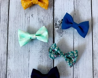 Set of 5 adorable boy clip on bow ties.