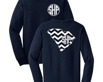 South Carolina Chevron Monogrammed Long Sleeve T-shirt