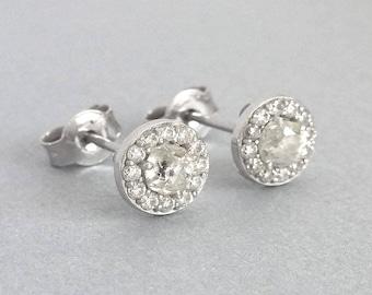 White Gold Halo Diamond Stud Earrings | White Gold Diamond Stud Earrings | Diamond Studs | Halo Earrings | Halo Stud Earrings, Pave Earrings