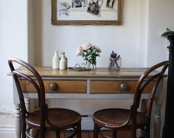 Elegant Pine Victorian Kitchen Table or Desk with Double Drawers in Mousse Grey