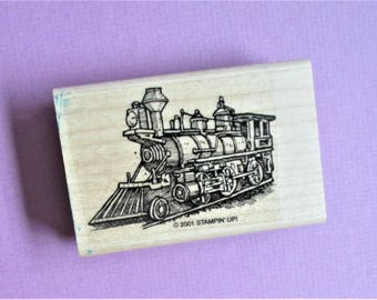 Train Image Steam Engine Papercraft Rubber Stamp Wood Block Mounted Stamp Scrapbooking Card Making DIY Party Invitation Craft Supply